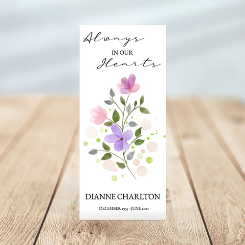 Soft Purple Floral Simple One Page Funeral Program
