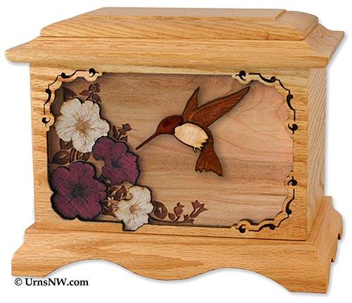 Hummingbird Wooden Inlay Urn