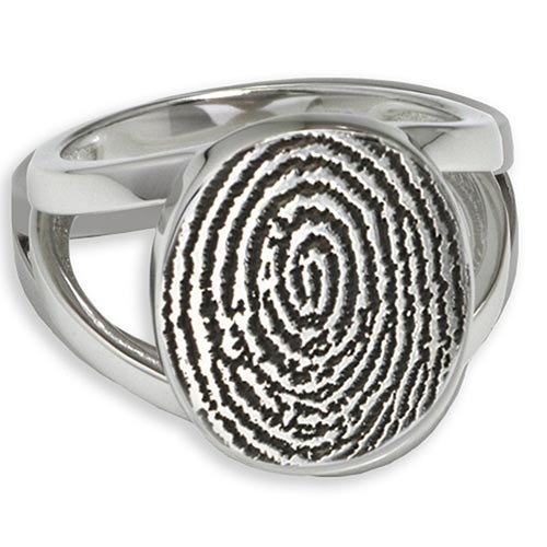 Oval Cremation Ring with Fingerprint