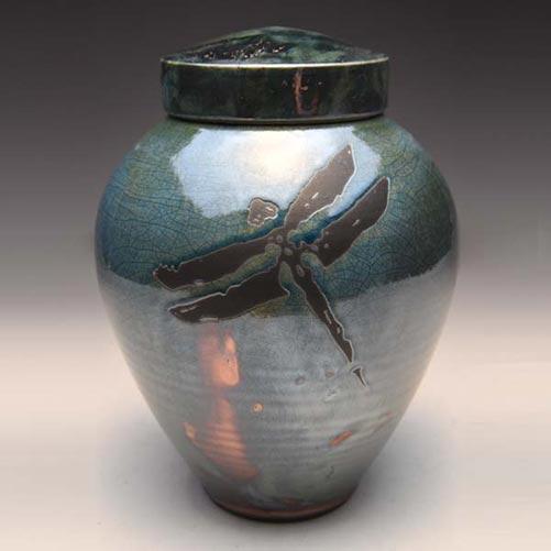 Ceramic Raku Dragonfly Urn