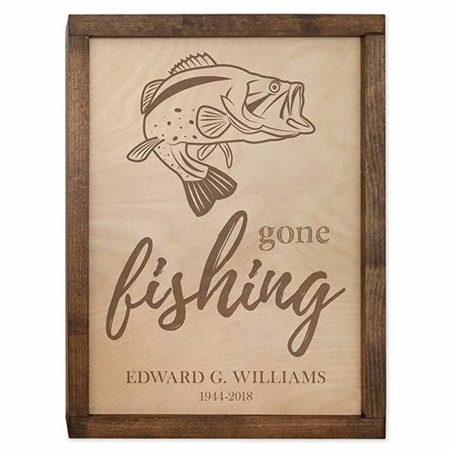 Wall Mounted Plaque Urn - Gone Fishing