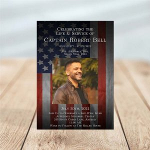 Customizable Funeral Invitation: Patriotic Military Veteran
