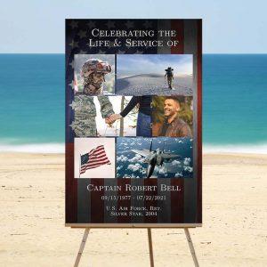 Funeral Memory Board Template: Patriotic Military Veteran