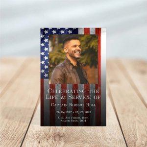 Funeral Prayer Card Template: Patriotic Military Veteran