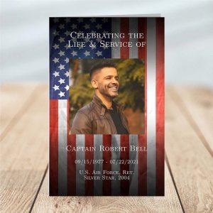 4 Page Funeral Program Template: Patriotic Military Veteran