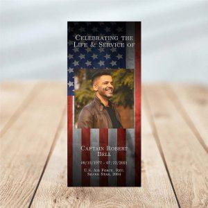 Patriotic Military Veteran One Page Funeral Program