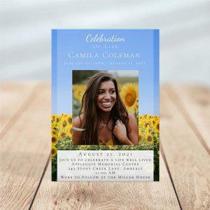 Sunflower Fields Funeral Invitation