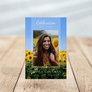 Sunflower Fields Funeral Prayer Card