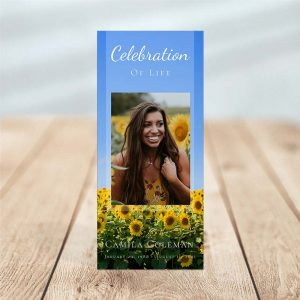 Sunflower Fields Simple One Page Funeral Program Template