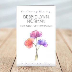 Watercolor Florals Funeral Program - 4 Page