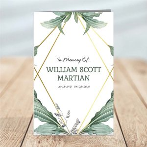 Botanical Four Page Funeral Program Template