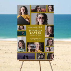 Dark Gold Border Celebration of Life Memory Board: Beach Template