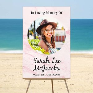 Lovely Rose Marble Funeral Welcome Sign - Beach Temp
