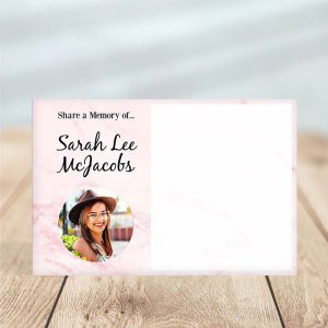 Lovely Rose Marble Share a Memory Funeral Card Template