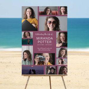 Plum Celebration of Life Memory Collage - Beach Template