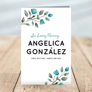 Soft Blue 4 Page Funeral Program Template