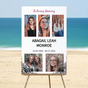 Customizable Vintage Framed Memorial Memory Board - Beach Template